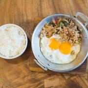 Pork Kaprow Pan Fried Eggs